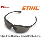 STIHL® Stihl Ultraflex Safety Glasses with Smoke Lens.  Premium protective glasses are made from optical grade polycarbonate for greater impact resistance. Offer 99.9% UV protection. Sleek and lightweight. Separate nylon nose piece offers greater comfort and snu