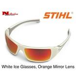 STIHL® Protection and comfort is no sweat with the White Ice Protective Glasses from STIHL. They feature rubber temples that prevent slippage, a comfort-fit style that accommodates almost all face sizes and polycarbonate lenses that block out 99% of harmful UV r