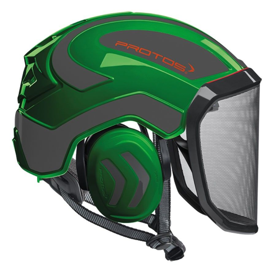 PROTOS Integral Arborist Helmet, Green and Gray