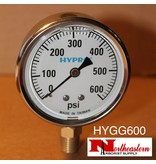 "Hypro® Gauge 0-600 PSI, Glycerin Filled, Stainless Case 1/4"" NPT Base Mount"