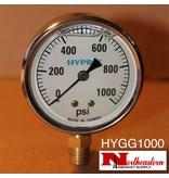 "Hypro® Gauge 0-1000 PSI, Glycerin Filled, Stainless Case 1/4"" NPT Base Mount"