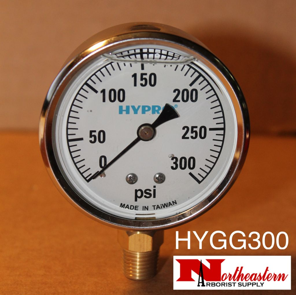 "Hypro® Gauge 0-300 PSI, Glycerin Filled, Stainless Case 1/4"" NPT Base Mount"