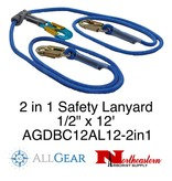 "All Gear Inc. Lanyard, 2 in 1 Double Braided Polyester 1/2"" x 12'"