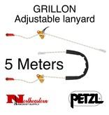 Petzl Lanyard, GRILLON Adjustable for work positioning, 5m