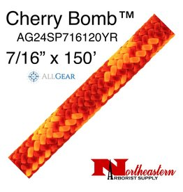 """All Gear Inc. Cherry Bomb™ 7/16"""" (11.5mm) x 150' 24 strand polyester double braid red and neon orange 6,300lbs. ABS"""