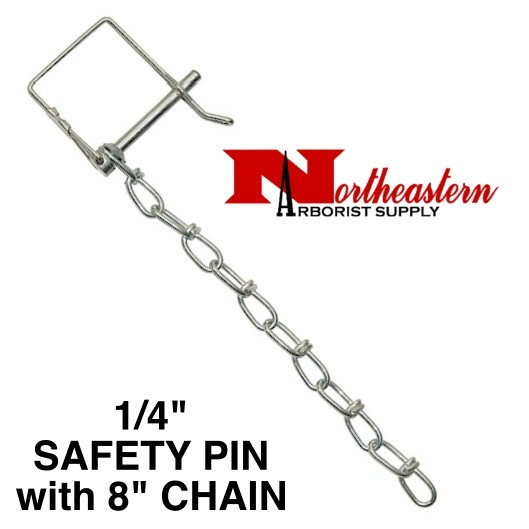 "PIN & CHAIN for HITCH 1/4"" Diameter (Safety Pin Clip with 8"" Chain Installed)"