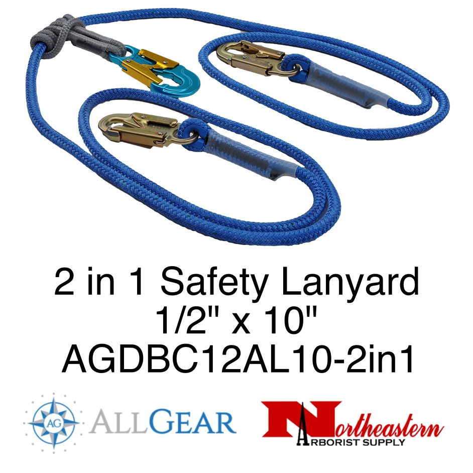 """All Gear Inc. All Gear's 2 in 1 Safety Lanyard Double Braided Polyester Lanyard 1/2"""" x 10'"""