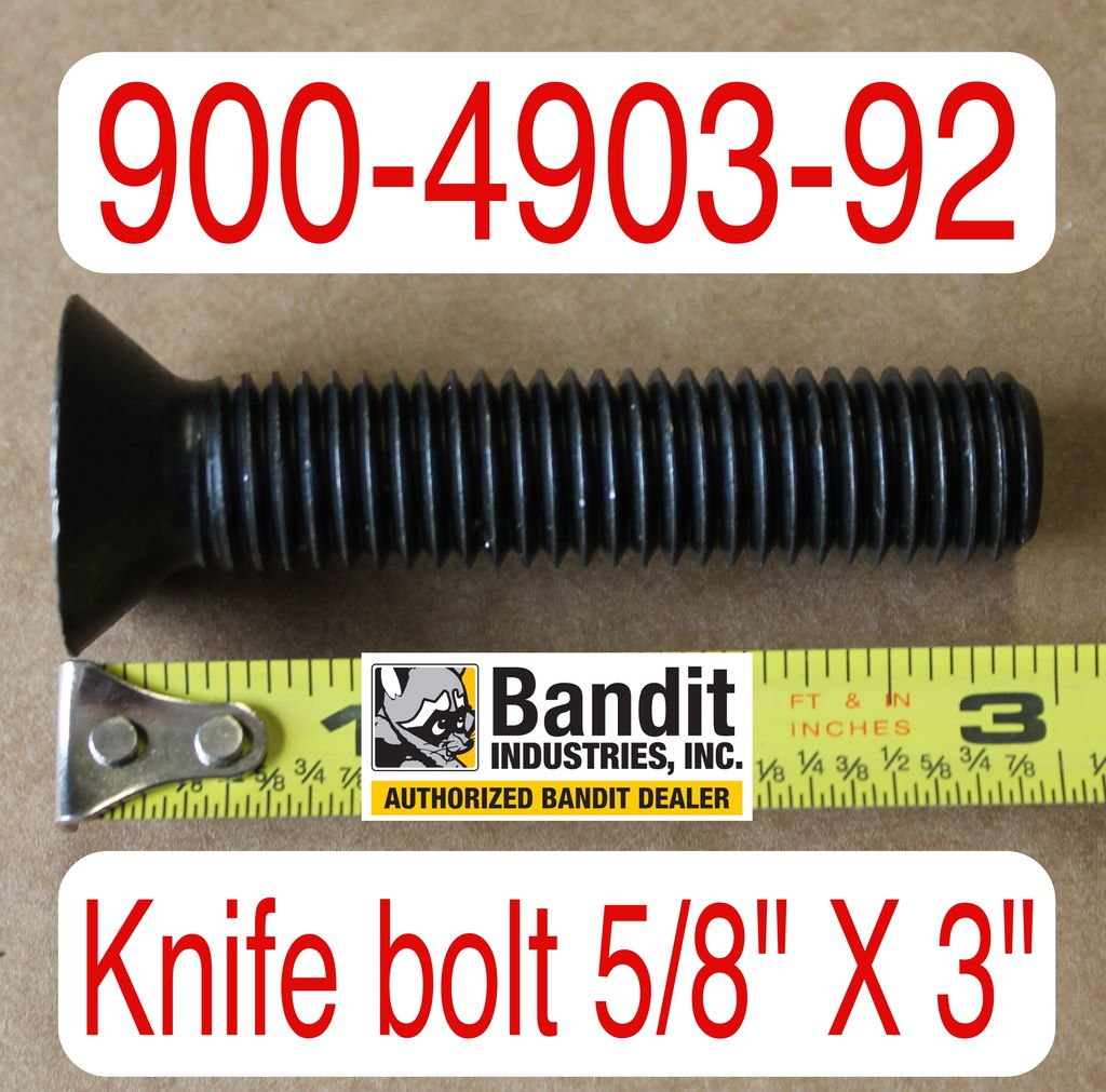 "Bandit® Parts Knife Bolt 5/8"" x 3"" Long, 900-4903-92"