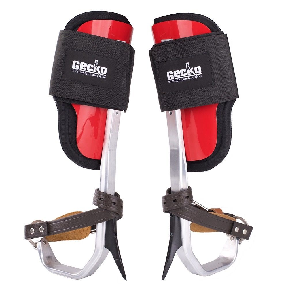 GECKO® Lightweight aluminum climbers with comfortable padded fiberglass cuffs and Velcro® straps