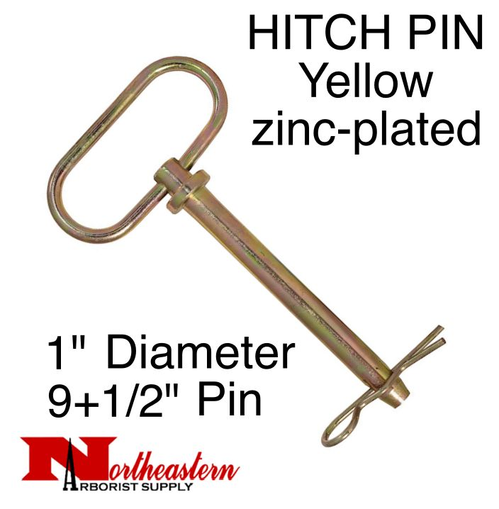 "HITCH PIN Yellow zinc-plated 1"" x 9+1/2 Inch Usable Length"