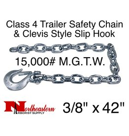 "Safety Chain, 3/8"" x 42"" w/Forged Clevis Slip Hook. 15,000#"