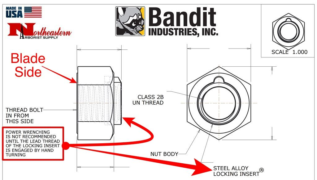 "Bandit® Parts Blade (Knife) Nut - Steel Lock, 1+1/16"",  5/8""-11, (180 lb·ft of Torque), 280-1850  900-4903-93"