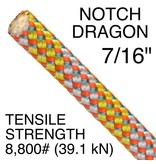"NOTCH Dragon 7/16"" x 150' with Two End's Grizzly Spliced (GSS)"