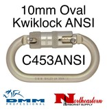 DMM Carabiner, 10mm Steel Oval Kwiklock ANSI, 30Kn Light Gold Color