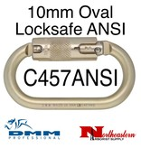 DMM Carabiner, 10mm Steel Oval Locksafe ANSI, 30Kn Light Gold Color