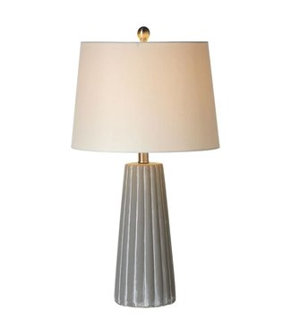 Ribbed Cement Lamp (WHTWSH)