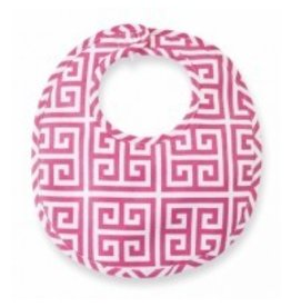 Mud Pie MP Pink Greek Key Bib