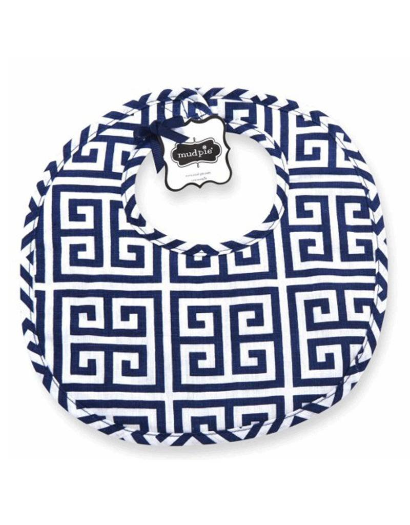 Mud Pie Mud Pie Navy Greek Key Bib