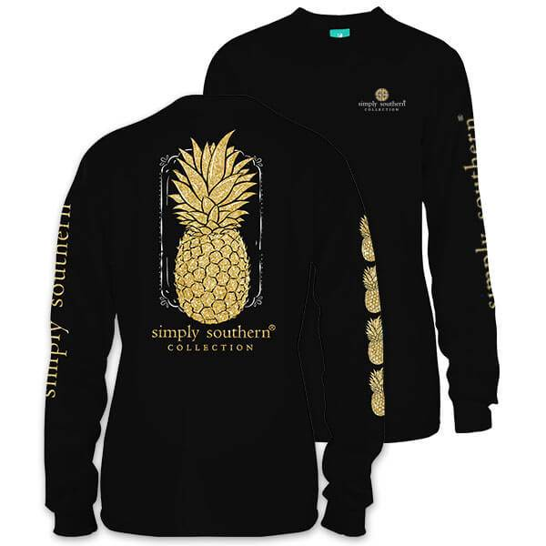 SS Simply Southern Long Sleeve Tee- Pineapple