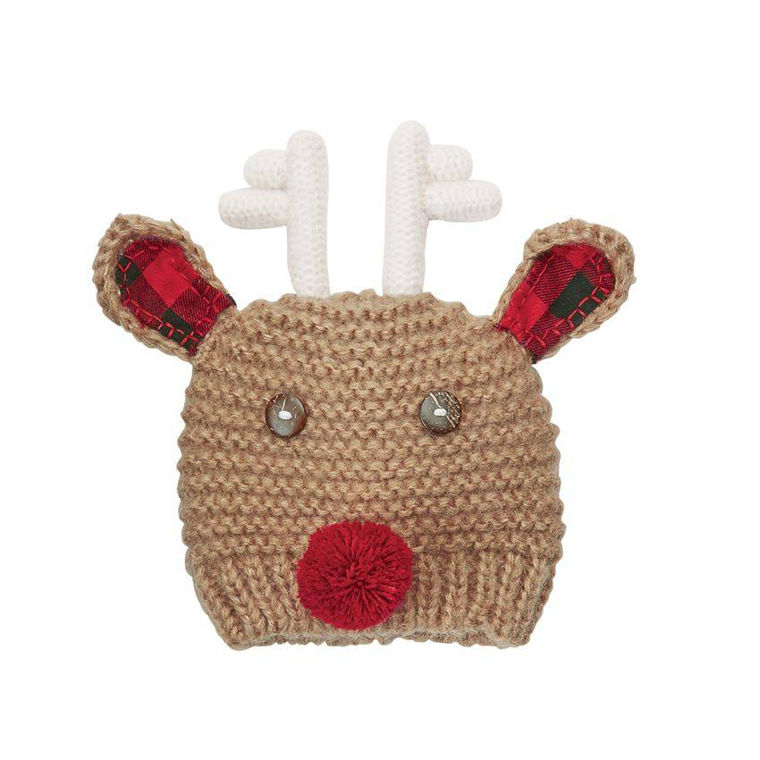 Mudpie Checked Reindeer Hat