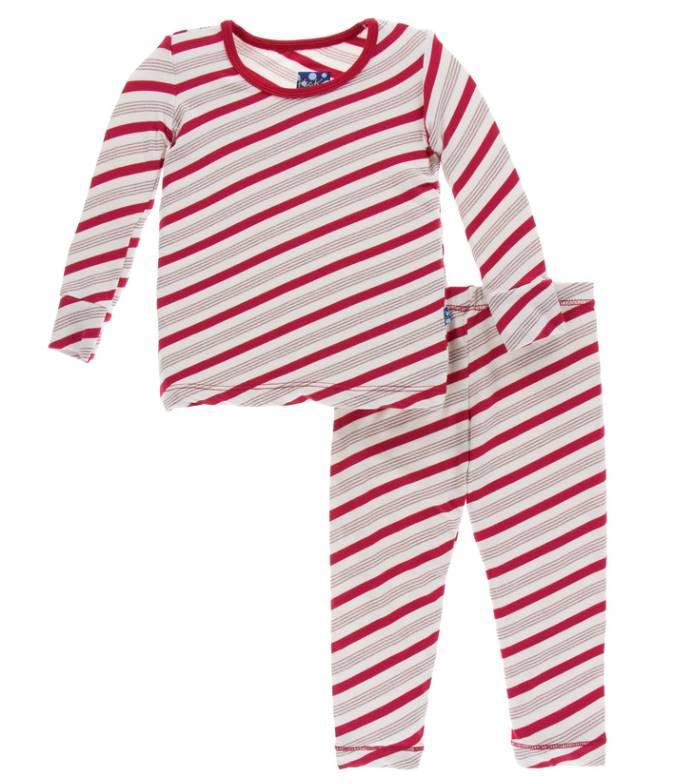 Kickee Pants Candy Cane Stripe Holiday PJ Set