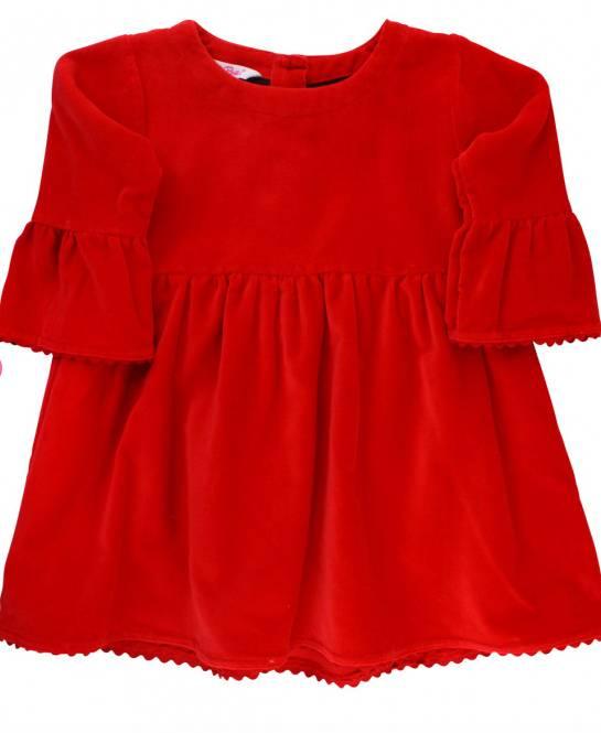 Ruffle Butts Red Velvet Dress