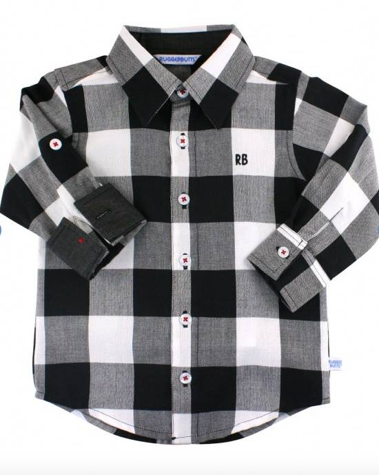 Ruffle Butts Black & White Plaid Shirt