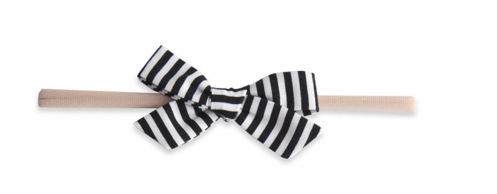 Baby Bling Cotton Print Bow Black Stripe