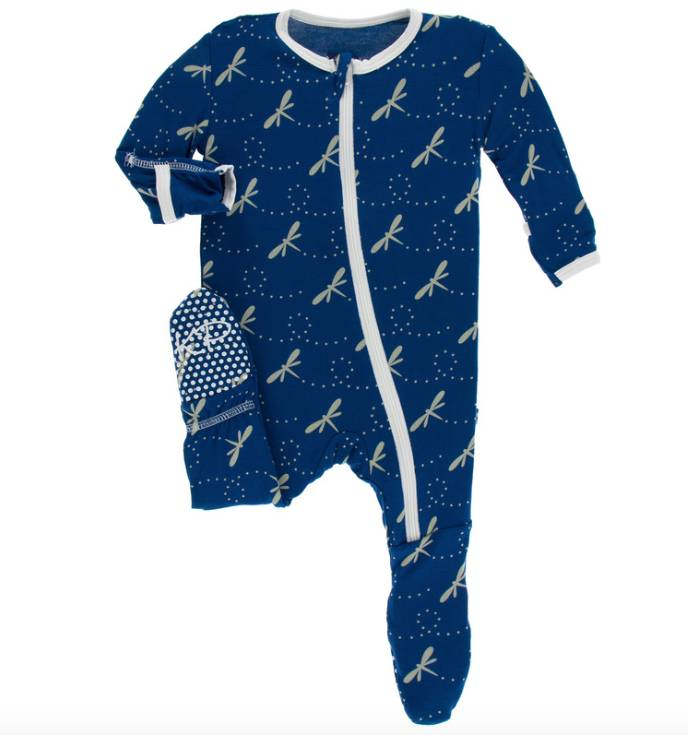 Kickee Pants Navy Dragonfly Footie