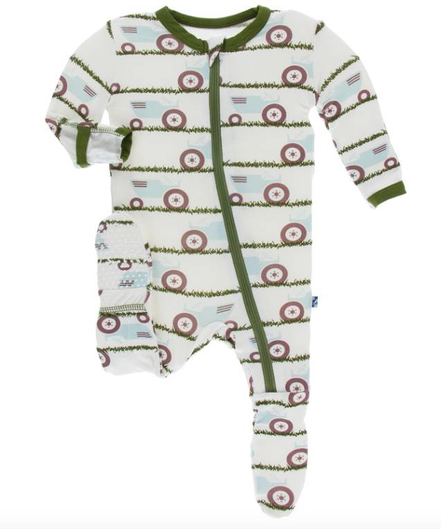 Kickee Pants Tractor And Grass Zipper Footie