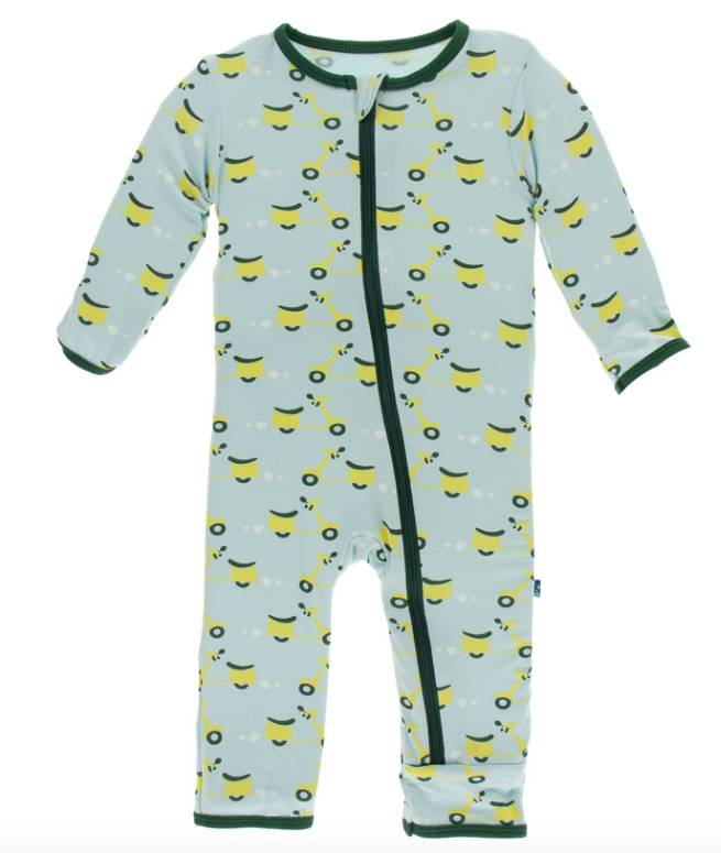 Kickee Pants Spring Sky Scooter Zipper Coverall
