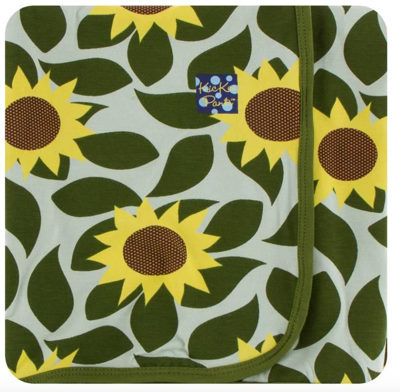 Kickee Pants Aloe Sunflower Swaddle Blanket