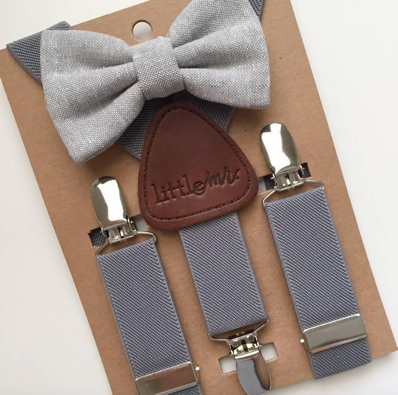 Little Mister Grey Bow Tie w/ Suspenders