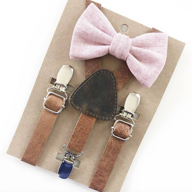 Little Mister Rose Pink Bow Tie w/ Leather Suspenders