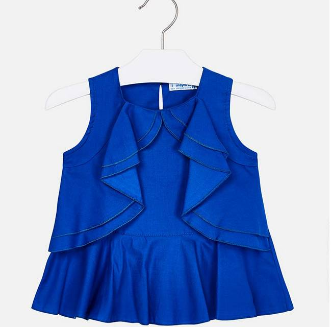 Mayoral Blue Ruffle Blouse