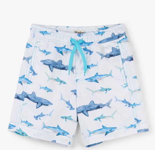 Hatley Watercolor Sharks Swim Trunks