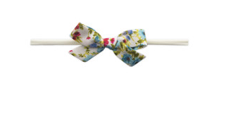Baby Bling Cotton Print Bow Turquoise Floral