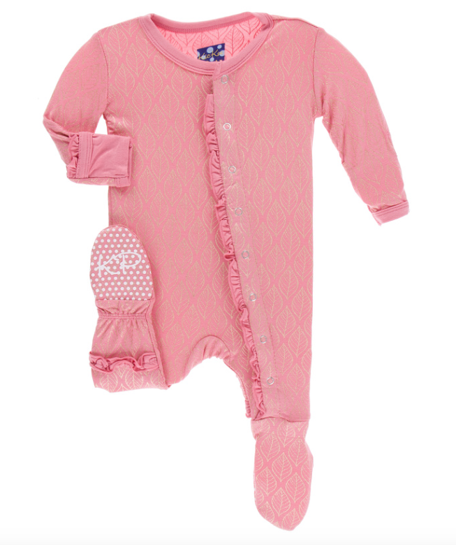 Kickee Pants Rose Gold Leaf Muffin Ruffle Footie