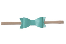Baby Bling Leather Bow Teal