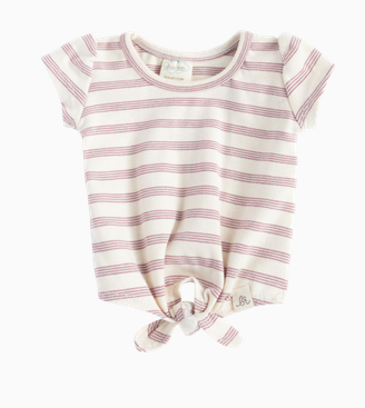 LuluAndRoo Baby Rose Stripe Knot Top