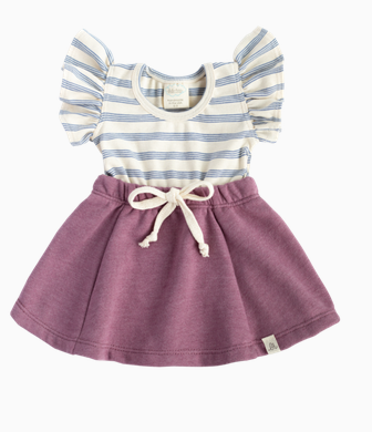 LuluAndRoo Baby Cobolt/Raspberry Flutter Dress