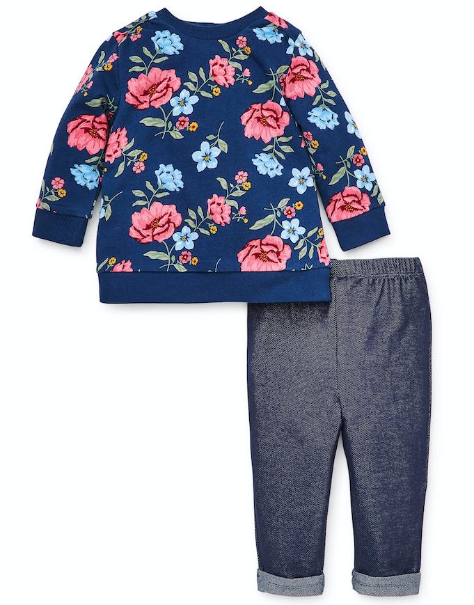 Little Me Floral Sweatshirt Set