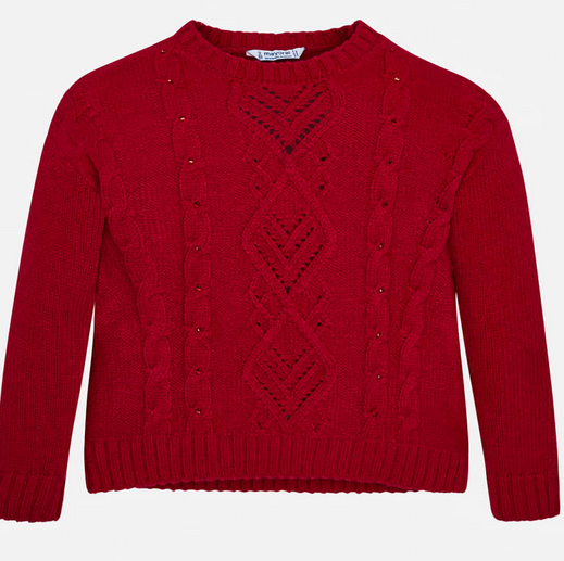 Mayoral Red Strass Sweater