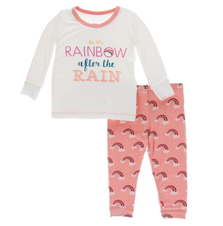 Kickee Pants Blush Rainbow PJ