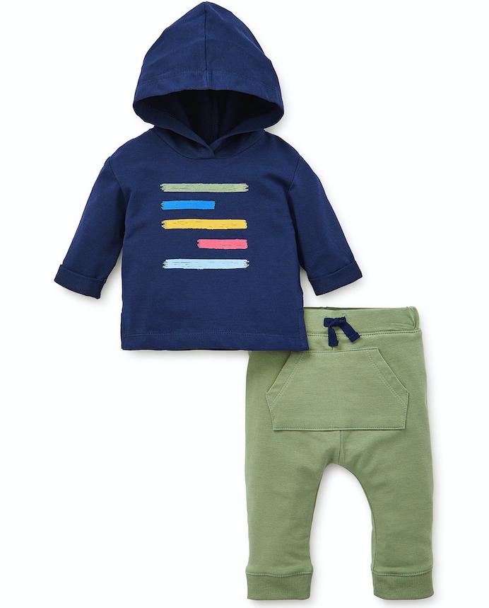 Little Me Navy/Green Create Hoodie Set