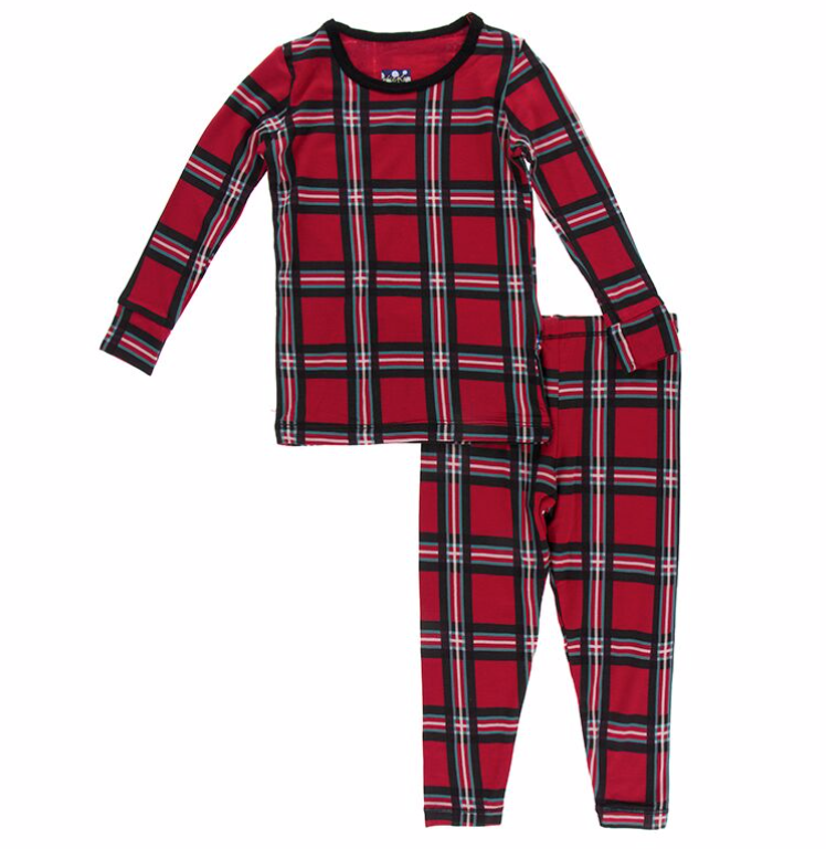 Kickee Pants Christmas Plaid PJ Set Kids