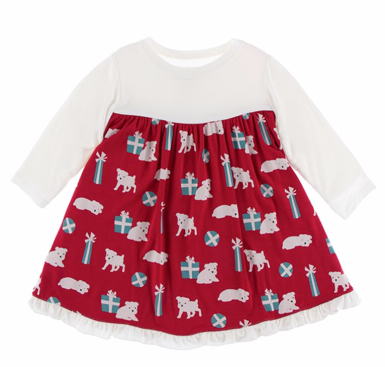 Kickee Pants Crimson Pups/Presents Toddler Dress