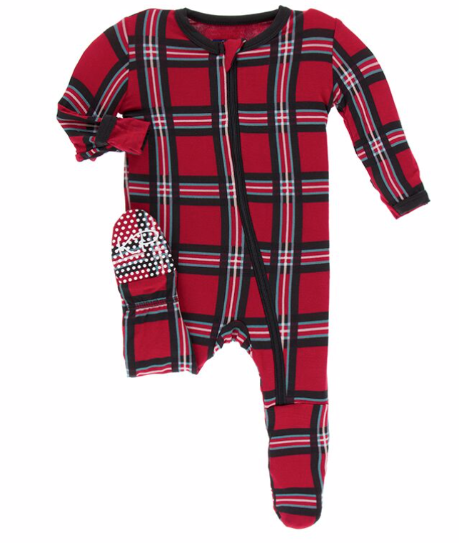 Kickee Pants Christmas Plaid Footie