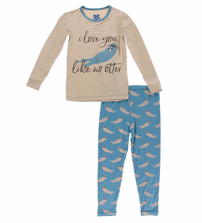Kickee Pants Blue Sea Otter PJ Set