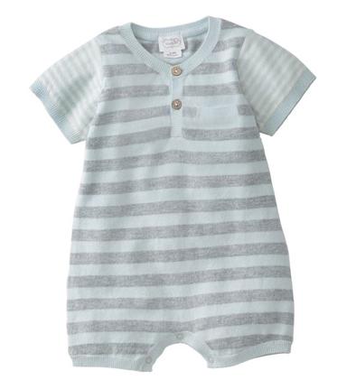 Mudpie Blue Stripe Knit Romper